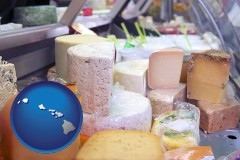 hawaii a cheese display at a dairy products store