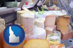 idaho map icon and a cheese display at a dairy products store