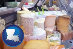louisiana map icon and a cheese display at a dairy products store