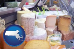 massachusetts map icon and a cheese display at a dairy products store