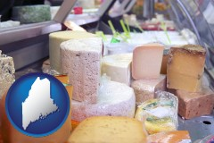 maine map icon and a cheese display at a dairy products store