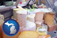 michigan map icon and a cheese display at a dairy products store