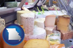 missouri map icon and a cheese display at a dairy products store