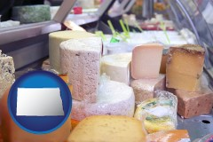 north-dakota map icon and a cheese display at a dairy products store