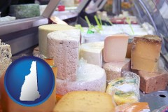 new-hampshire map icon and a cheese display at a dairy products store