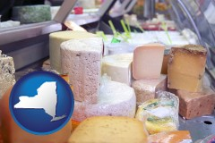 new-york map icon and a cheese display at a dairy products store