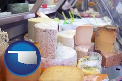 oklahoma map icon and a cheese display at a dairy products store