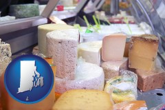 rhode-island map icon and a cheese display at a dairy products store