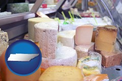 tennessee map icon and a cheese display at a dairy products store