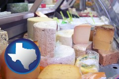 texas map icon and a cheese display at a dairy products store