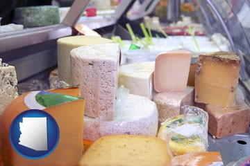 a cheese display at a dairy products store - with Arizona icon