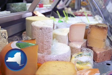 a cheese display at a dairy products store - with New York icon