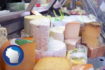 a cheese display at a dairy products store - with Wisconsin icon